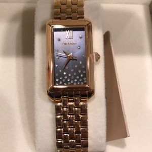 NWT Ellen Tracy Rose Gold Swarovski Dark Blue Face